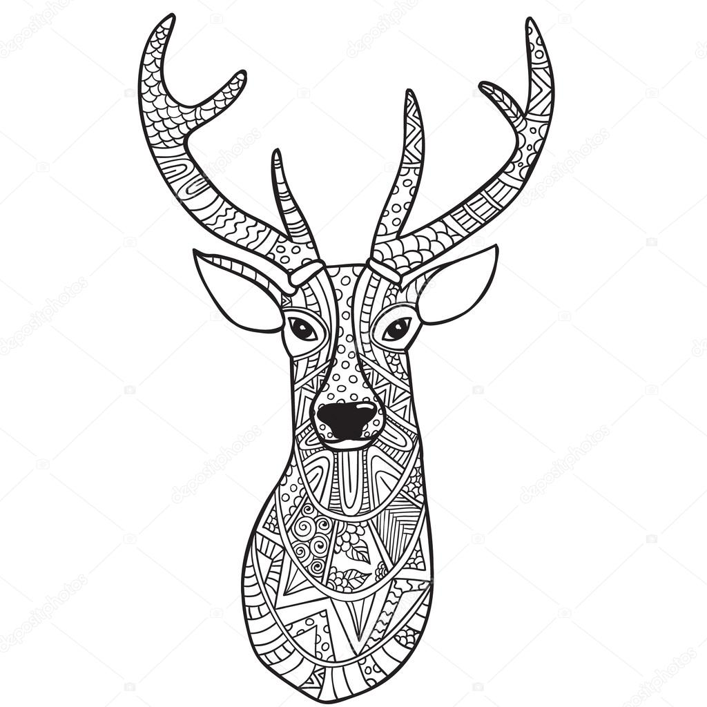 1024x1024 Deer. Hand Drawn Reindeer With Ethnic Doodle Pattern. Coloring