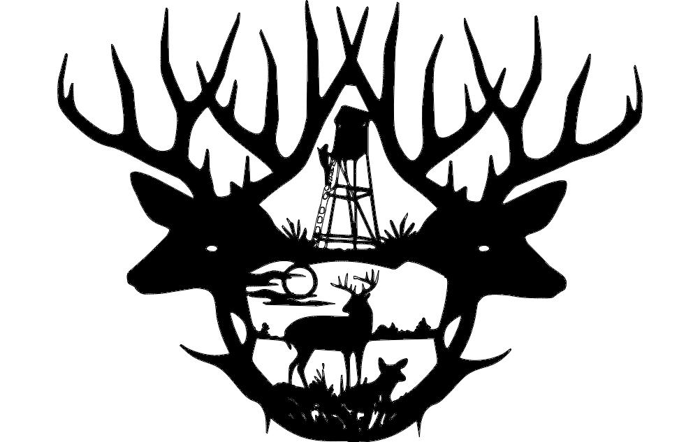1002x633 2 Deer Antlers Dxf File Free Download
