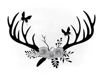 340x270 Antlers Flowers Png Etsy