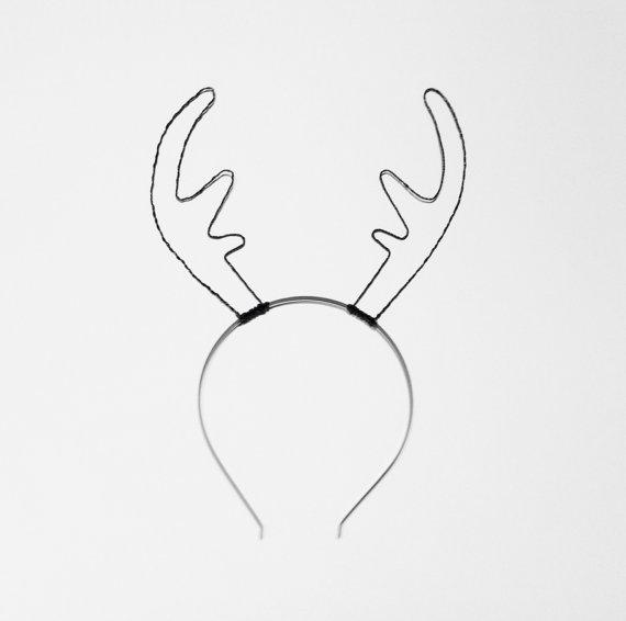 570x566 Black Wire Reindeer Antler Headband Rudolf Antlers Deer Ears