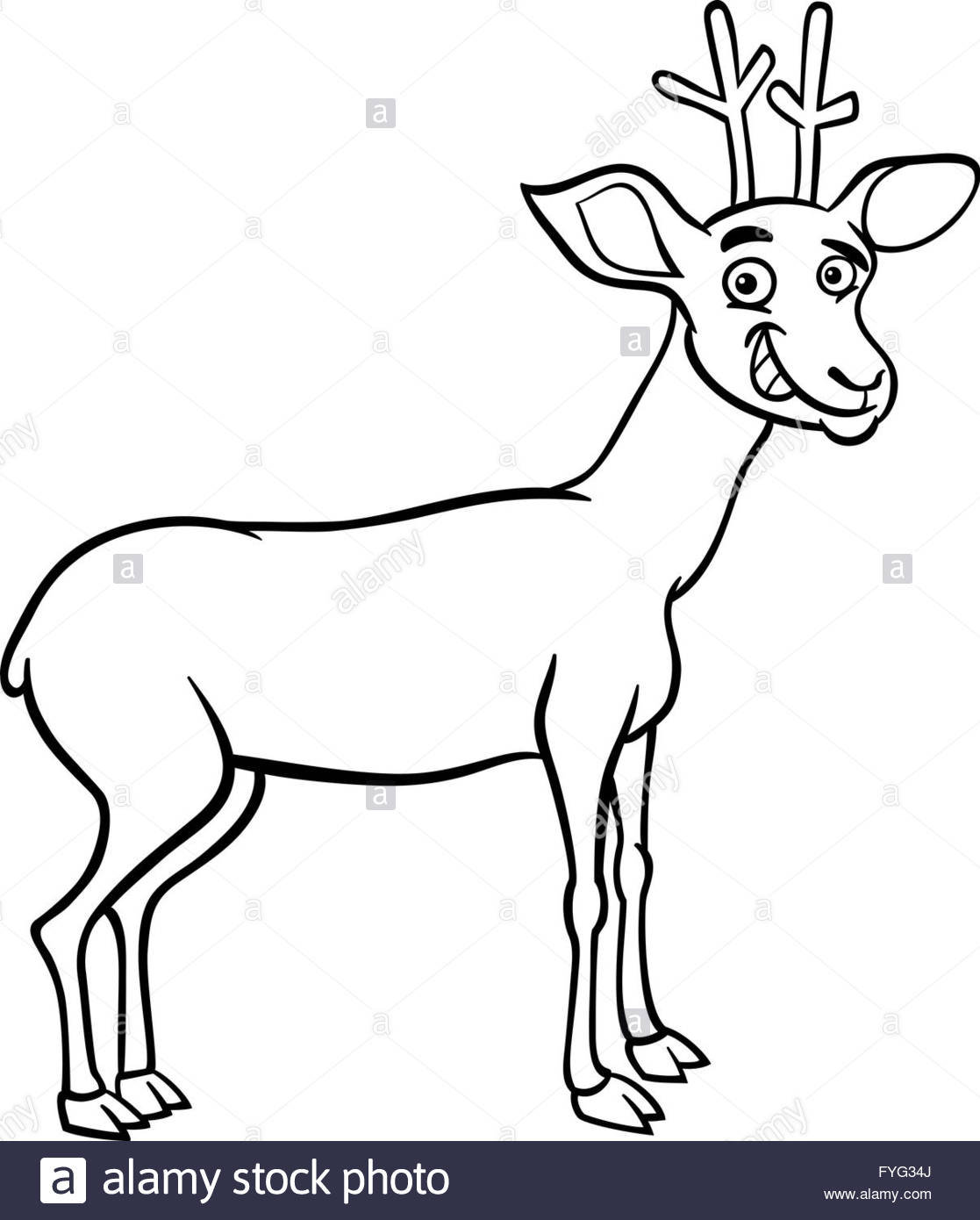 1117x1390 Deer Cartoon Illustration For Coloring Stock Photo, Royalty Free