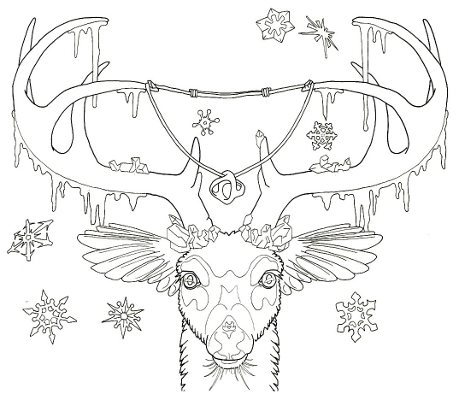 459x400 Deer Totem Coloring Page Root Inspirations