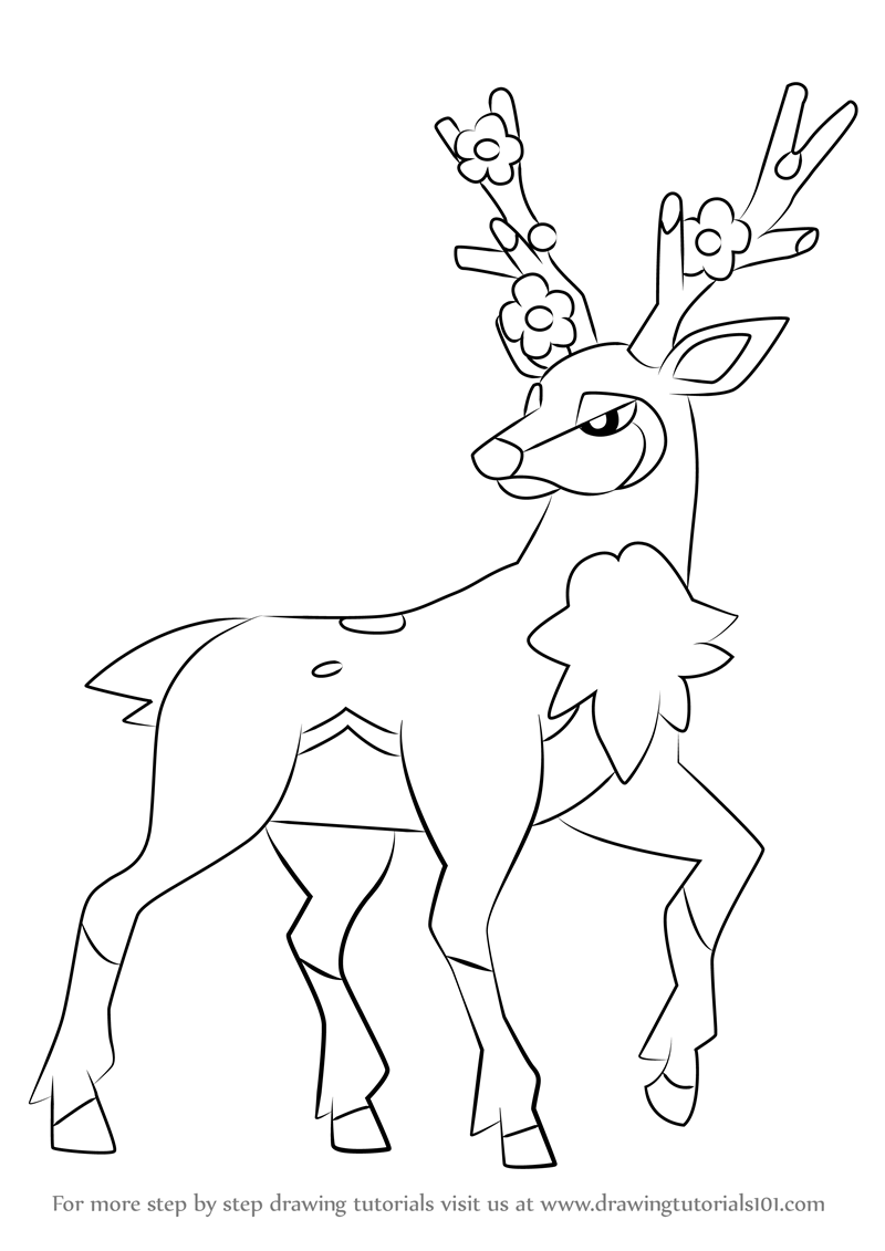 800x1131 Learn How To Draw Sawsbuck From Pokemon (Pokemon) Step By Step
