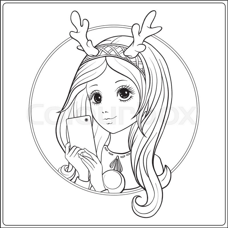 800x800 Young Nice Girl With Long Hear And Deer Horns On Her Head Make