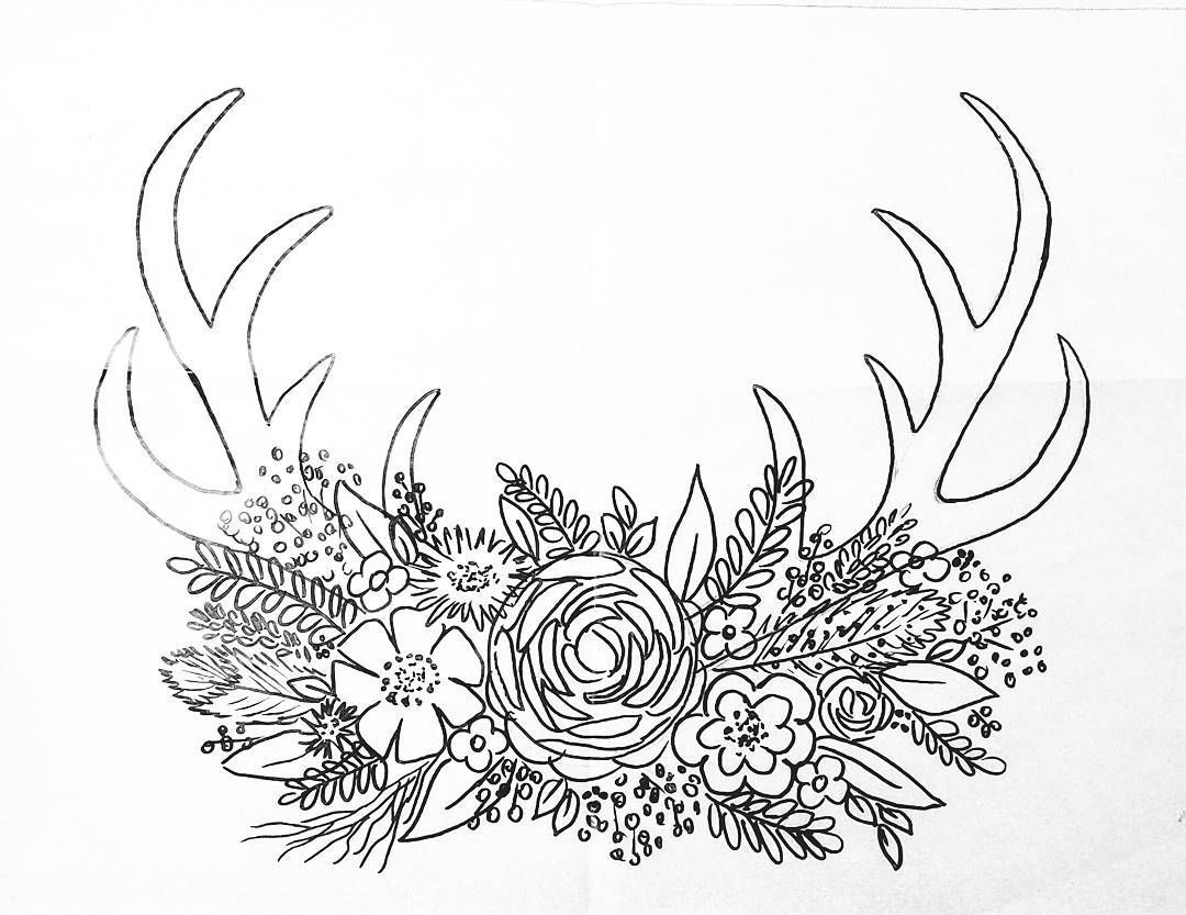 1080x833 Free Printable Coloring Sheet Deer Antler Traceable