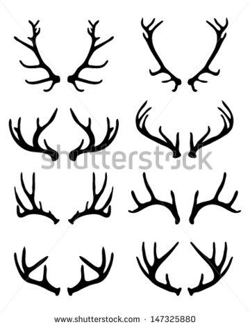 360x470 Silhouettes Of Deer Antlers 2 Vector Inked Deer