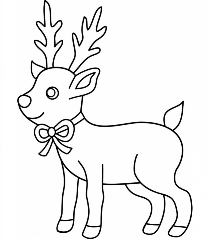 687x782 Coloring Pages Reindeer Drawings Drawn Xma 14 Coloring Pages