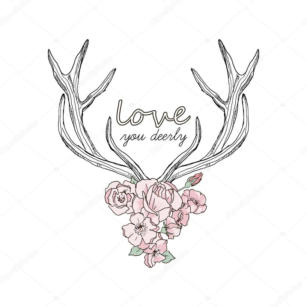 1024x1024 Deer Horns And Flowers. Stock Vector Olga.angelloz