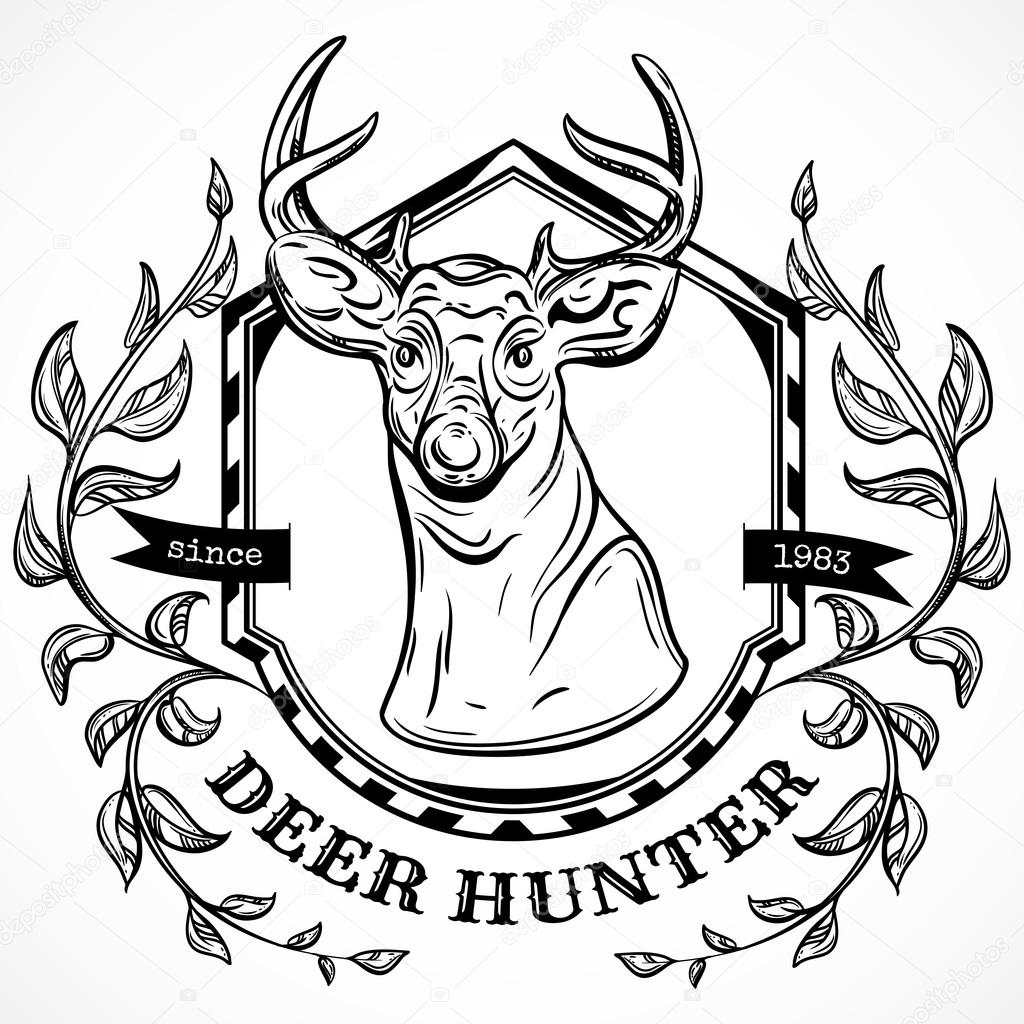 1024x1024 Deer Hunter Vector Label Design Template. Hand Drawn Head Of Deer
