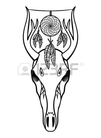 331x450 Deer Skull Black White Sketch, Illustrations Drawing Cow Skull