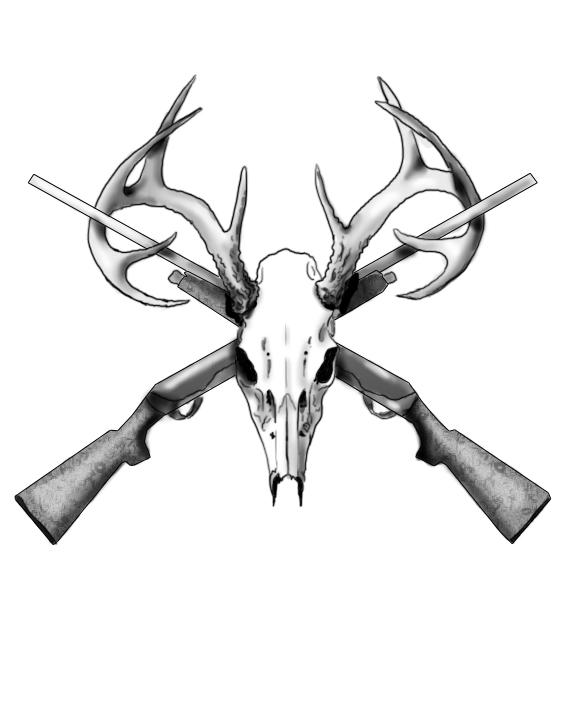 576x720 Deer Skull And Guns Tattoos Design