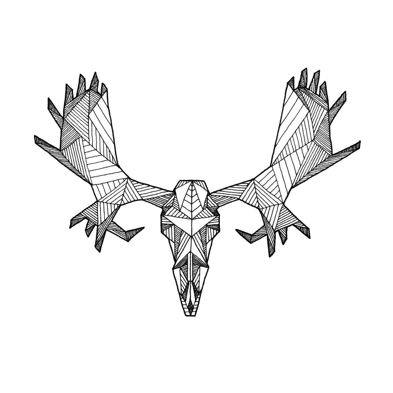 1500x1500 Detailed Geometric Moose Skull Drawing