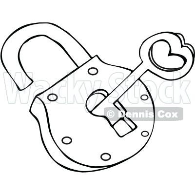 400x400 Key Coloring Page Outlined Skeleton Key And Padlock Royalty Free