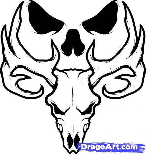 493x520 Collection Of Black Deer Skull Tattoo Design