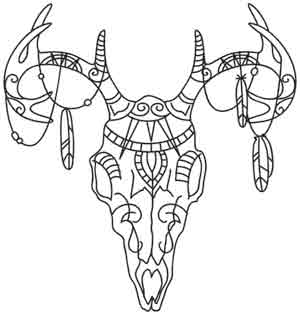300x315 Tribal Deer Skull Urban Threads Unique And Awesome Embroidery