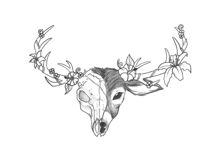 900x649 Deer Head Tattoo By ~rainbowmassacre90 On Deer