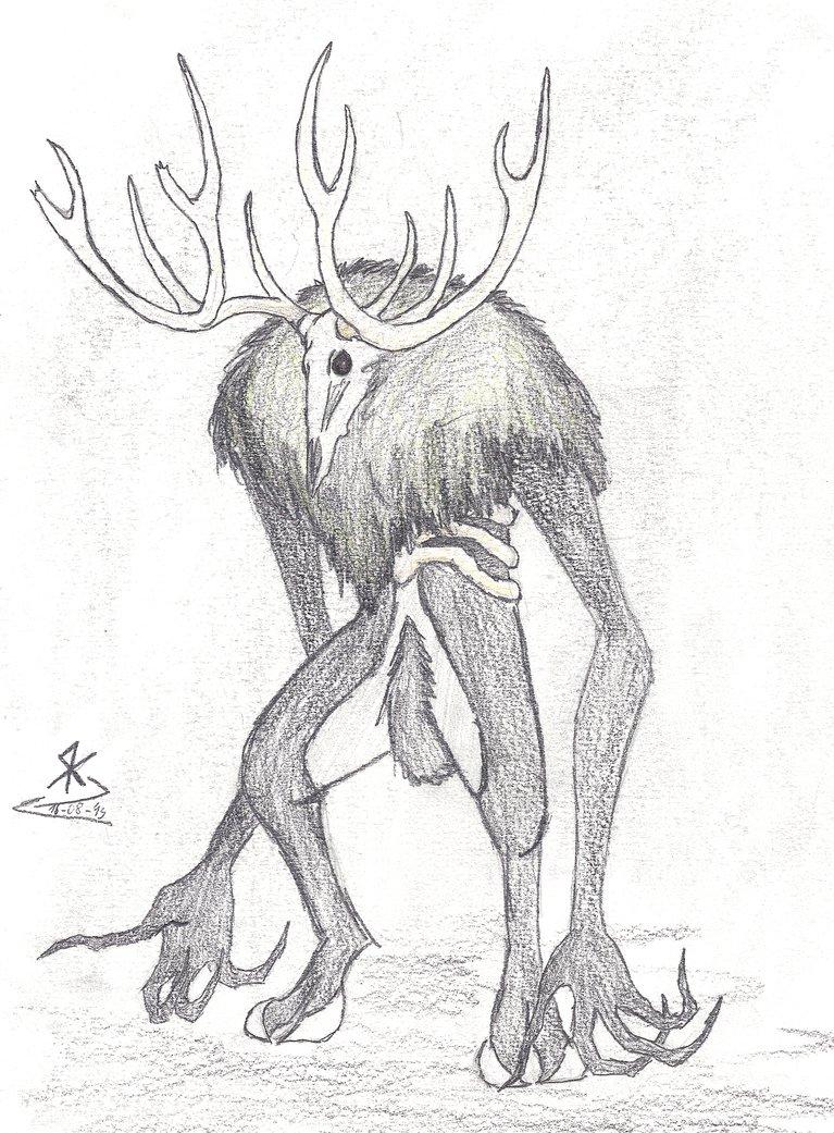 767x1041 Deer Skull Demon By Lasnight