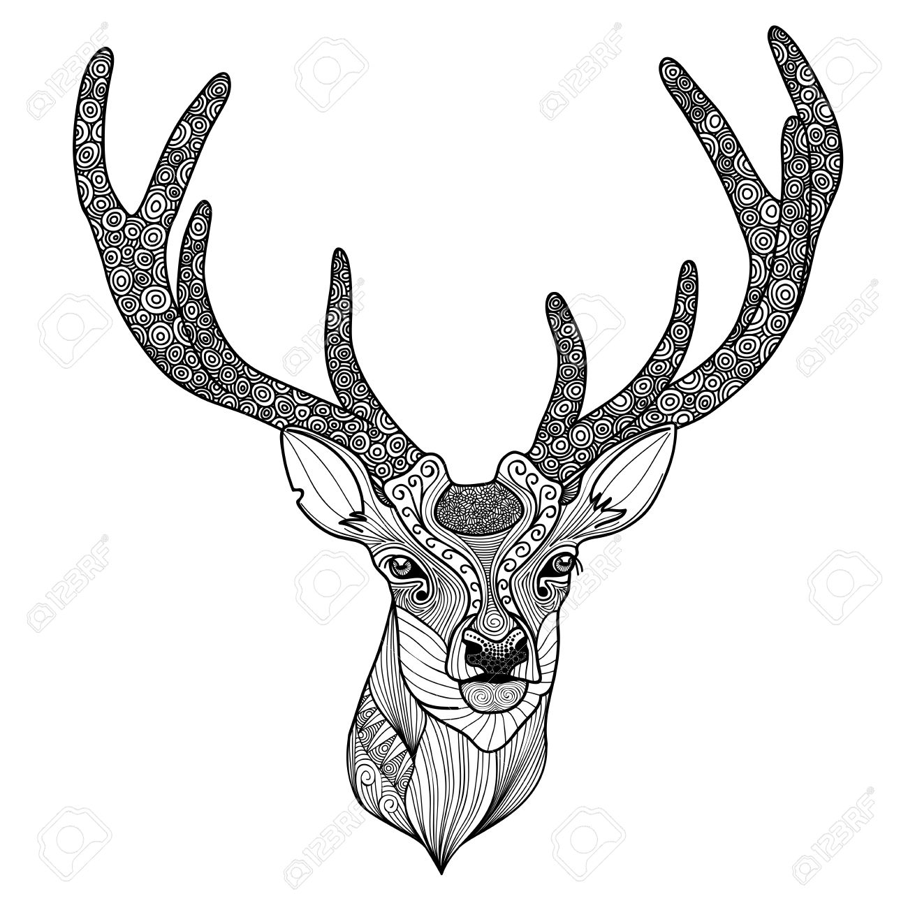 1300x1300 Patterned Deer Head With Big Antlers Royalty Free Cliparts