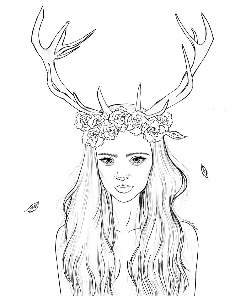 800x941 The Girl With Antlers Lineart By Farfallah