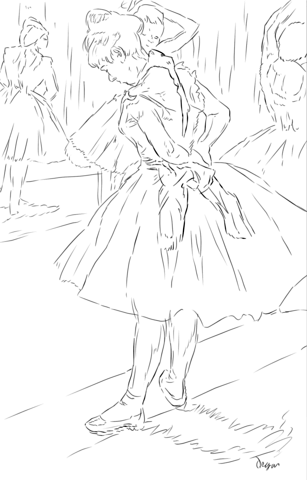 307x480 The Dance Studio By Edgar Degas Coloring Page Art Ideas