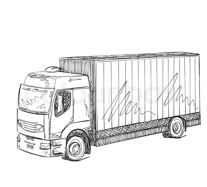 800x724 Delivery Service Poster. Hand Drawn Truck. International Transport