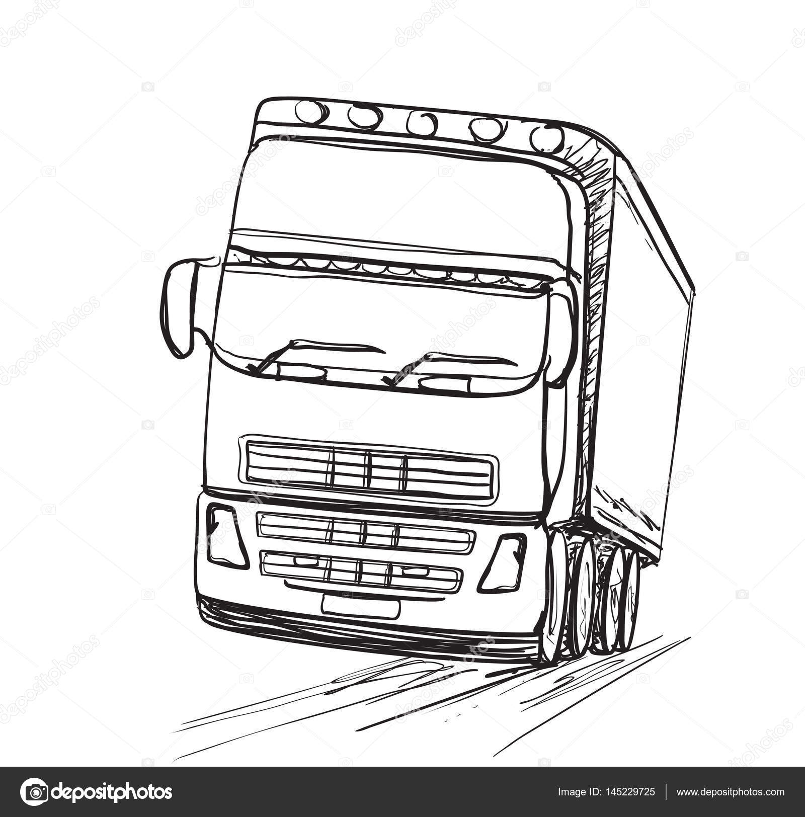 1600x1624 Delivery Service. Hand Drawn Truck. Transport. Stock Vector