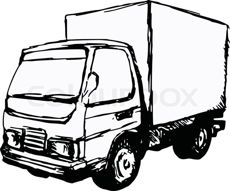 800x664 Hand Drawn, Cartoon, Sketch Illustration Of Small Truck Stock