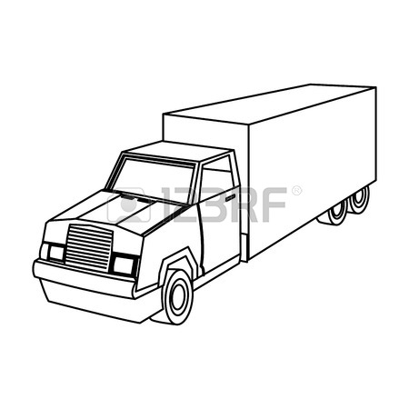 450x450 Cargo Delivery Truck With Cargo Container Shipping Design, Vector