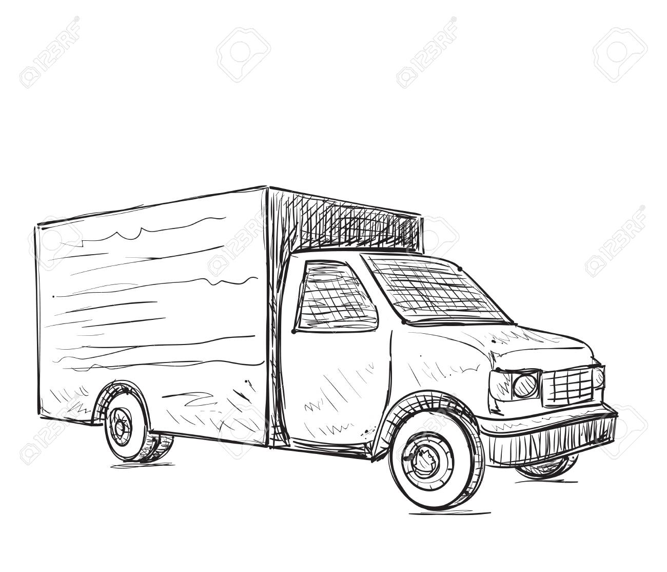 1300x1114 International Delivery Service. Hand Drawn Truck Sketch. Royalty