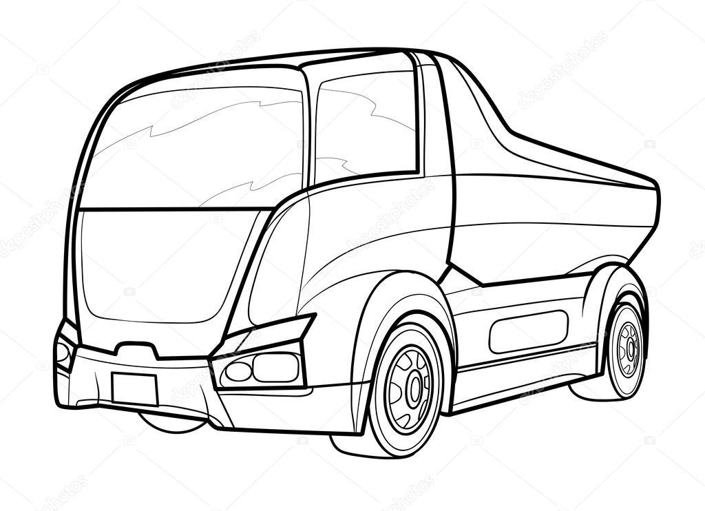 1024x742 Outline Of Delivery Truck Stock Vector Kopirin