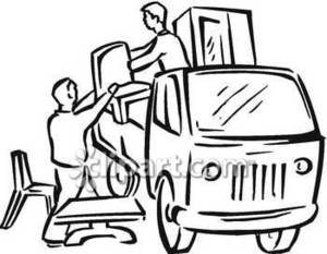 300x233 People Unloading A Delivery Truck Of Furniture Royalty Free