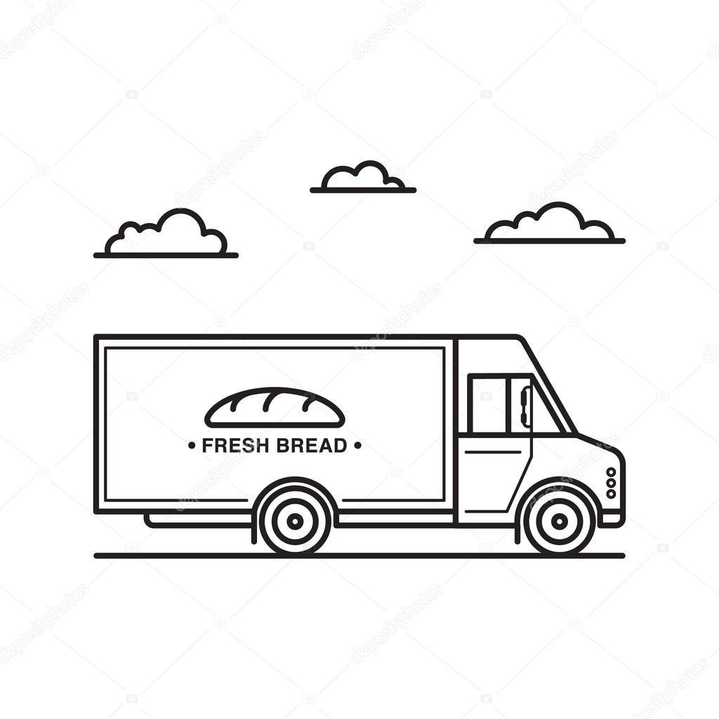 1024x1024 Vector Illustration Of American Style Bread Delivery Truck