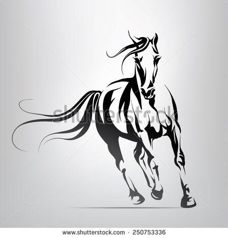 450x470 Vector Silhouette Of A Running Horse Art