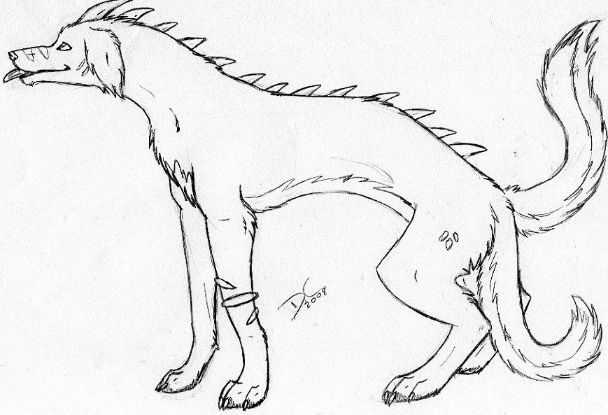 869x593 Demon Dog Sketch D By Weird0freak