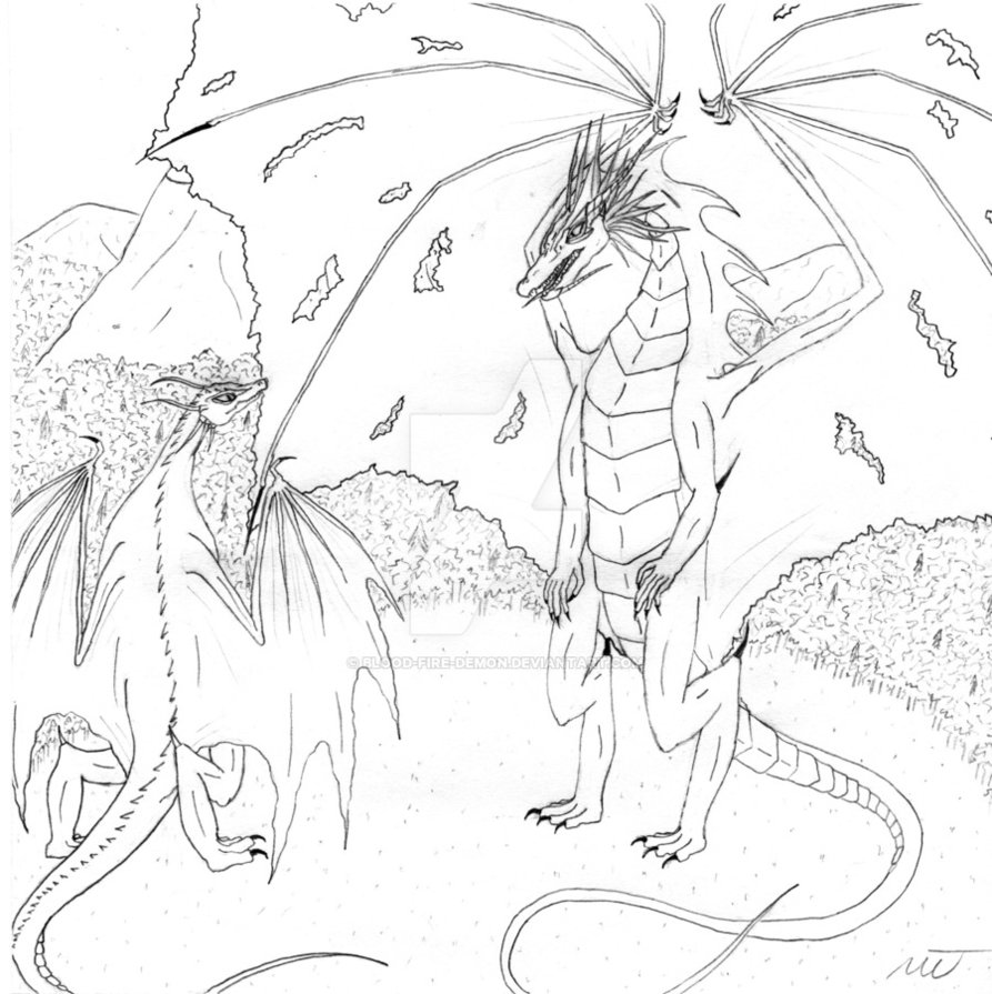 893x895 Dragon Faceoff Drawing By Blood Fire Demon