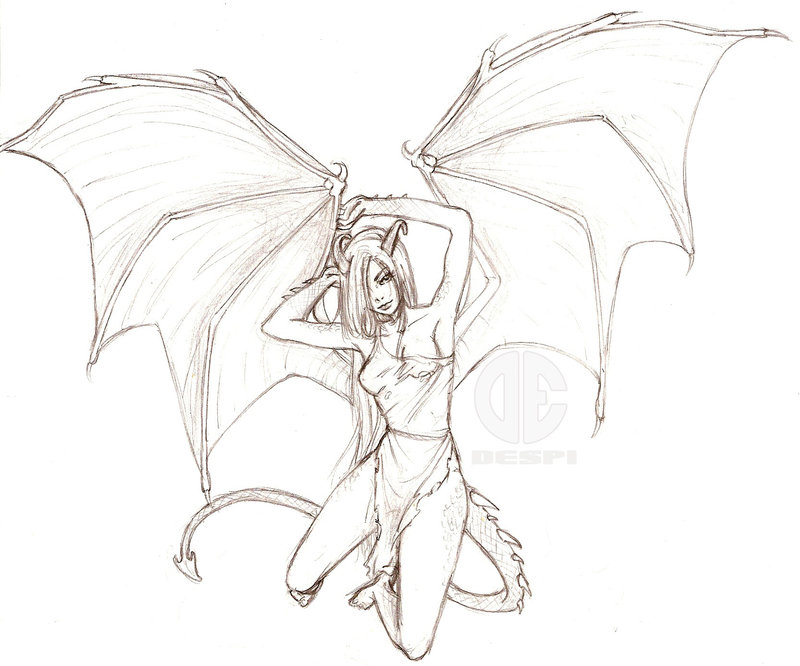 800x666 Dragon Human Drawing Demon Dragon Drawings