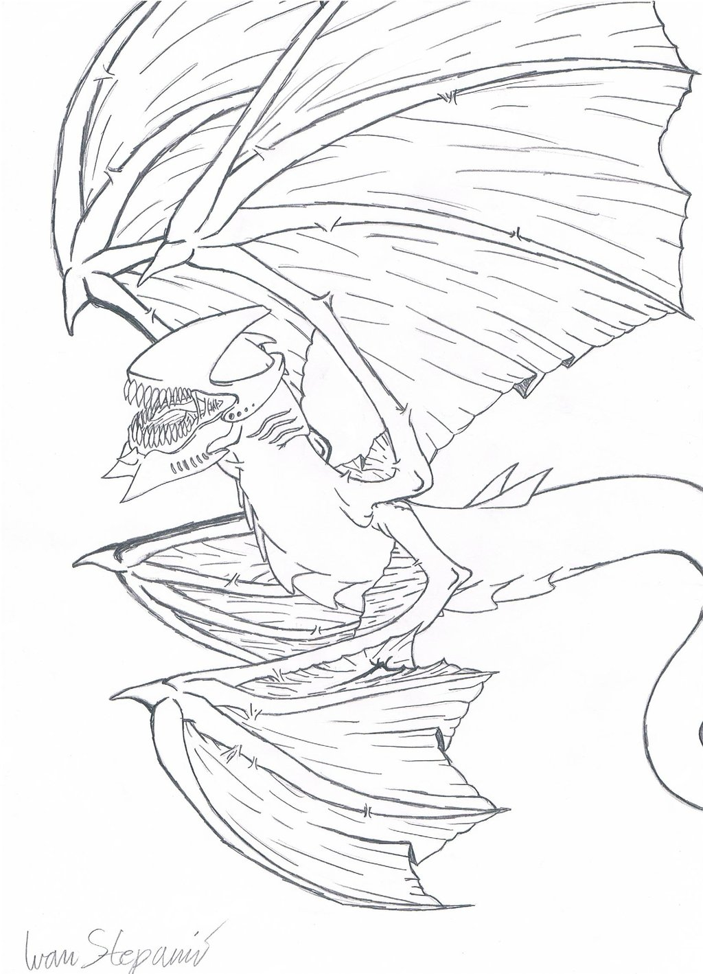 1024x1418 Four Winged Demon Dragon By Ivans650