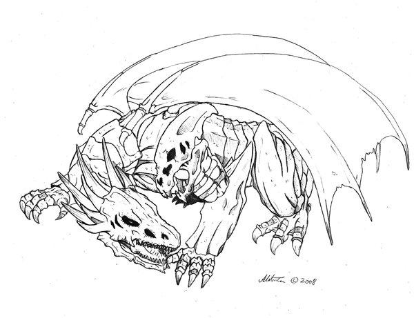 600x461 Skull Demon Dragon Lineart By Chaosenvoy