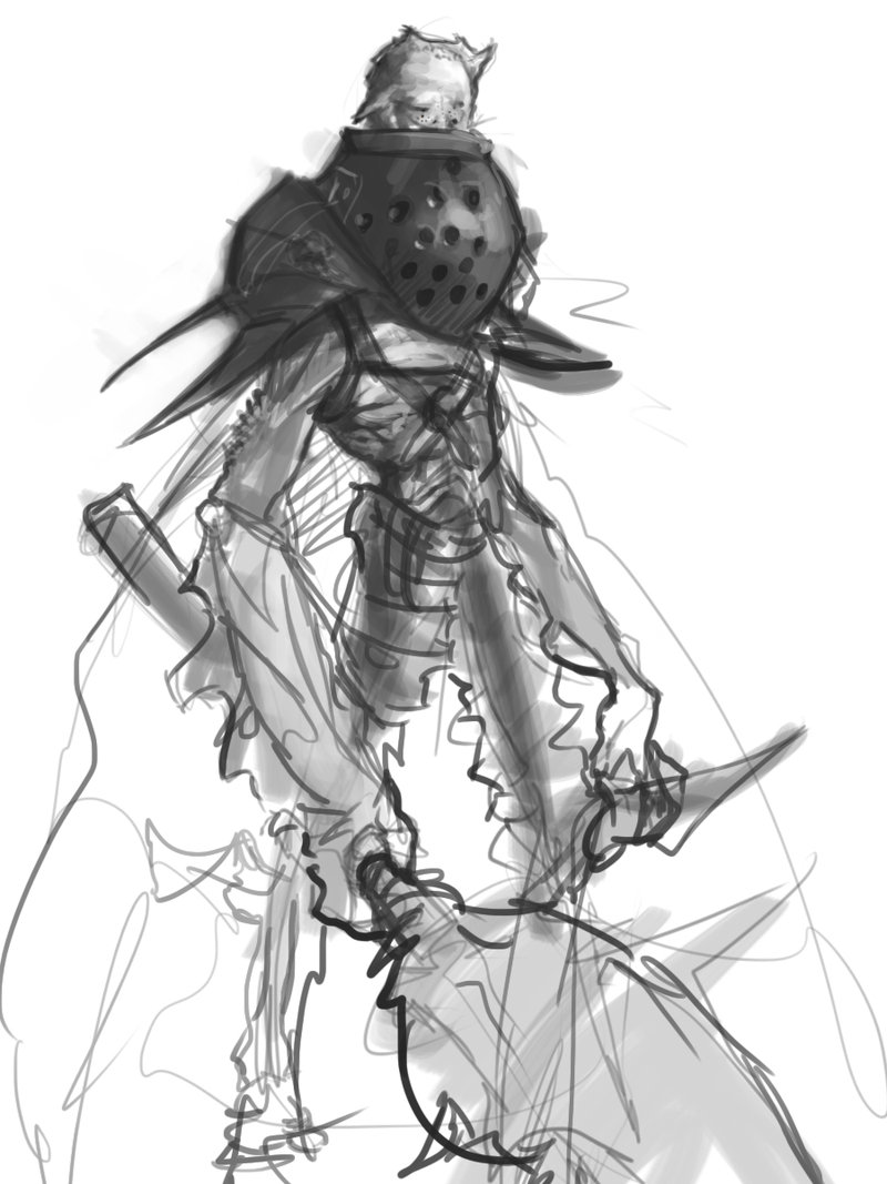 800x1067 Demon Warrior Sketch By Erebus88