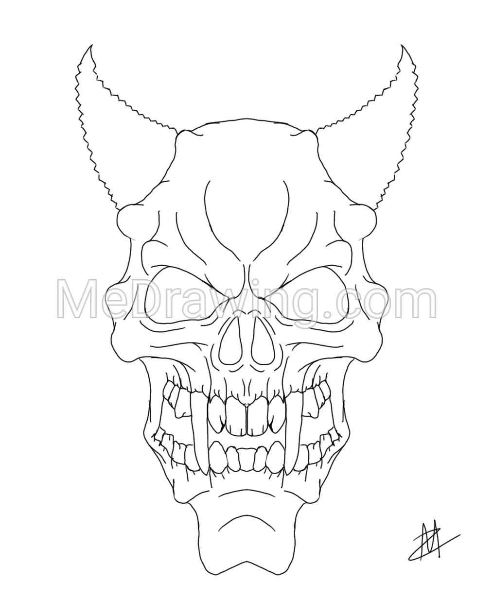 1014x1231 Purple Zombie Demon Skull Ink Drawing Ink Sketches