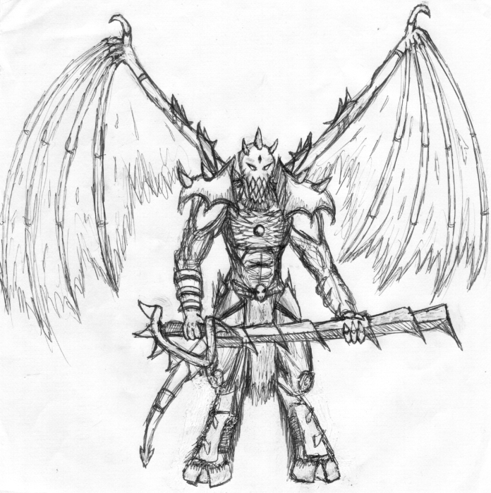 696x700 Demon Drawings Drawing Of A Powerful Demon Lord, Done In Pen. He
