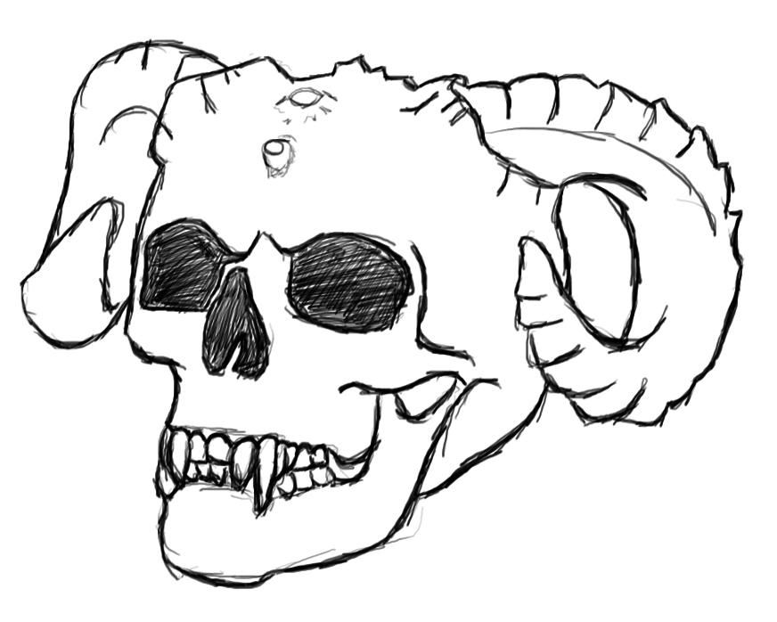 872x698 Drawing Demon Skull By Baemo