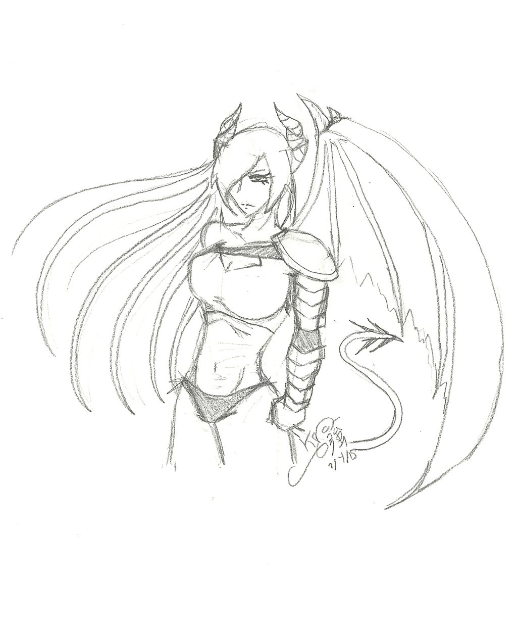 1024x1259 Demon Girl Sketch By Kyokasha