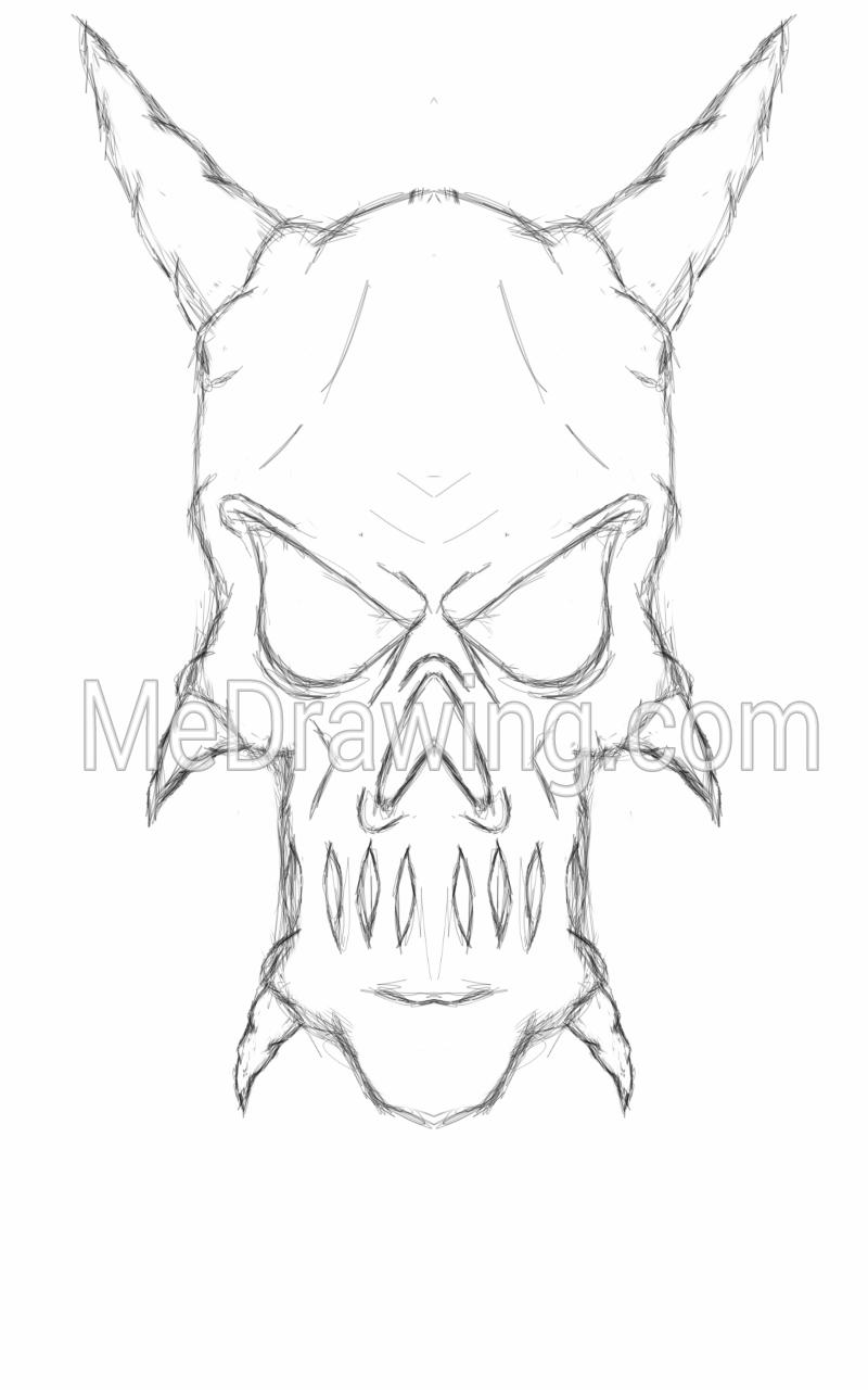 800x1280 Demon Skull Head Sketch