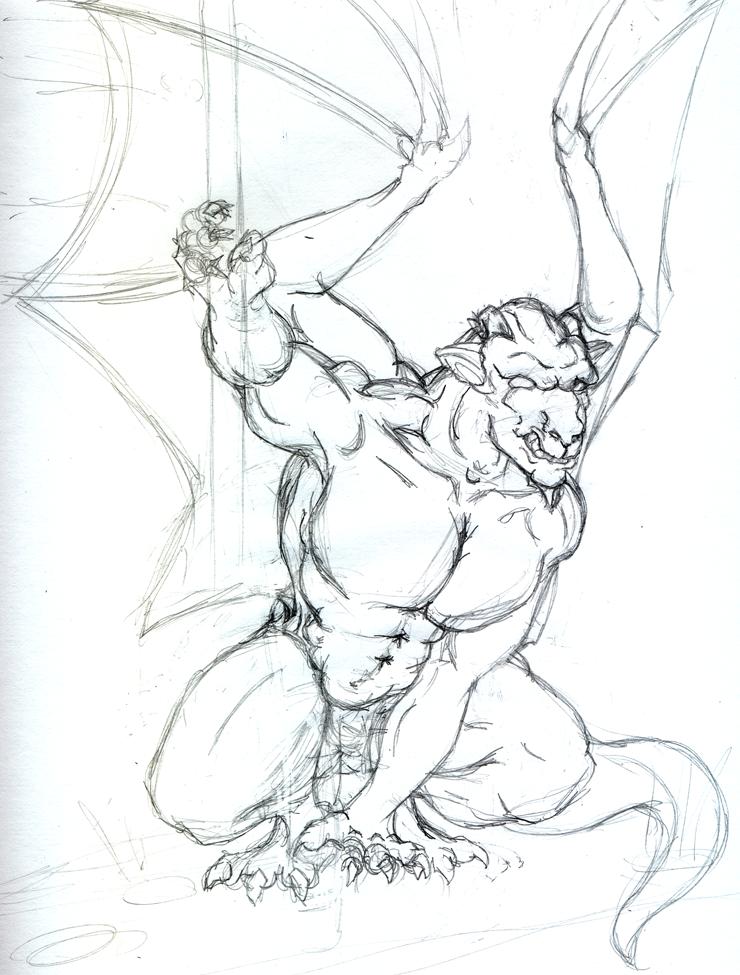 740x975 Gargoyle Tattoo Drawing Angle Demon N Gargoyles