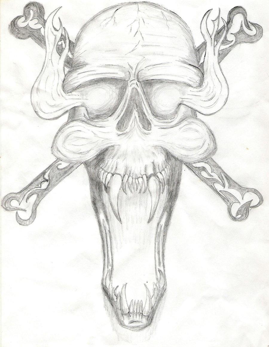 900x1160 Demon Skull Chest Tattoo By Michaelgbrown