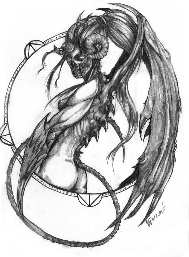 664x900 Female Demon Drawings Fine Art America