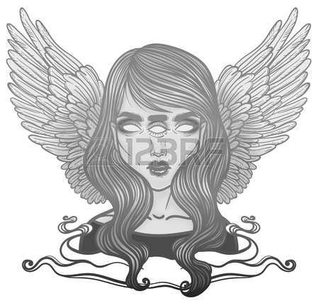450x428 Portrait Of Mystic Angel Or Demon Of Death In The Form Of A Girl