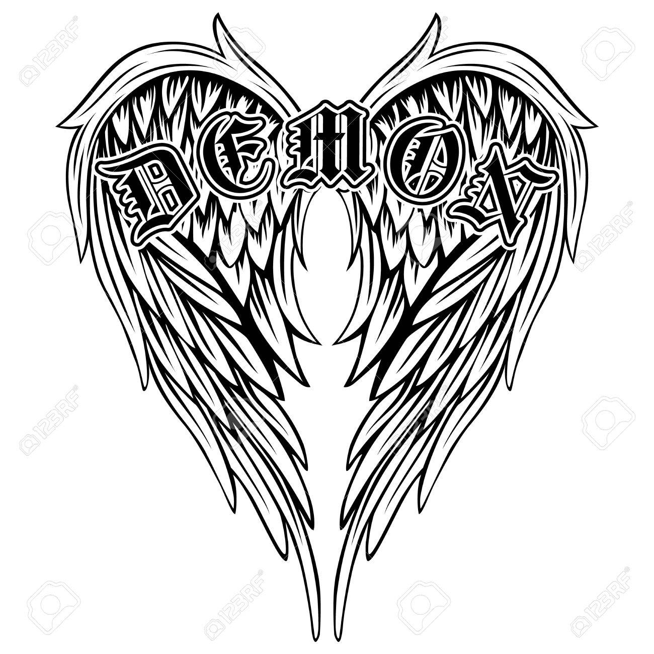 1300x1300 Abstract Vector Illustration Black And White Wings And Inscription