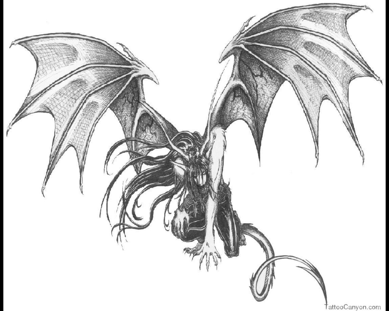 1280x1024 Winged Demon Tattoo Elaxsir